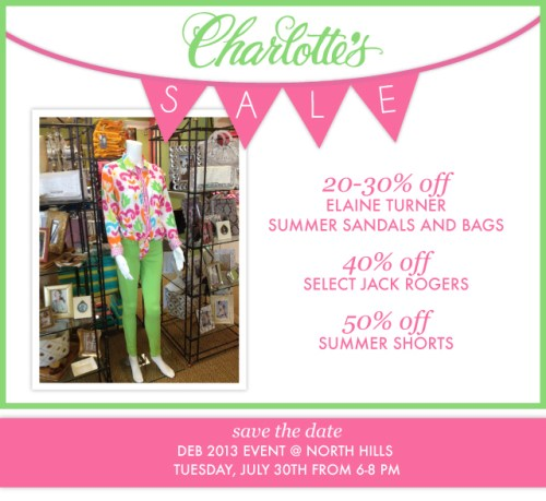 Charlotte's summer sale includes sandals, totes, and shorts