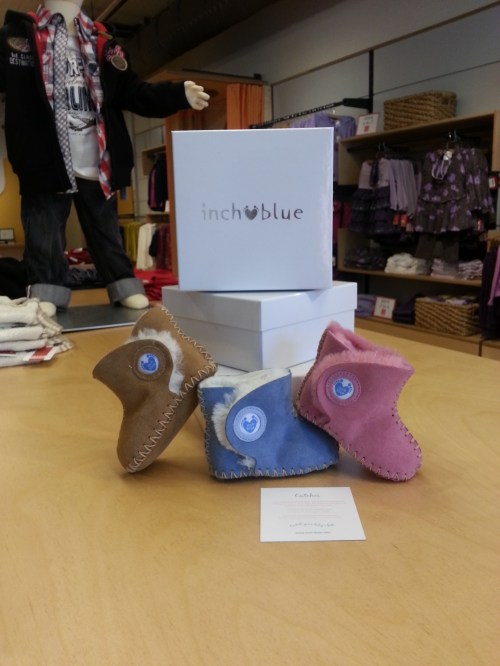 "Welsh brand Inch Blue ""Cwtches "" booties at Nüvonivo"