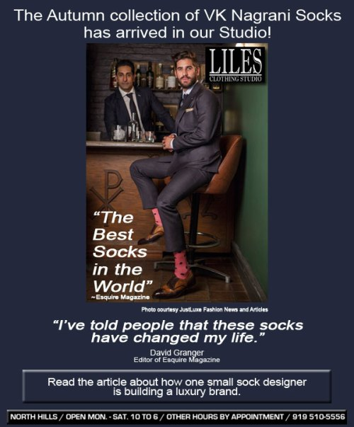 VK Nagrani socks for men at Liles Clothing Studio in Raleigh's North Hills