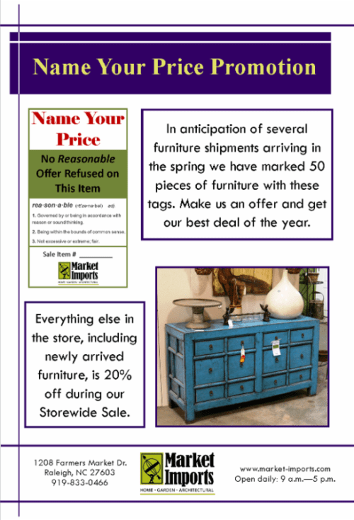 Name your price on furniture at Market Imports
