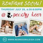 Redress Raleigh fashion social at Peachy Keen in Cary