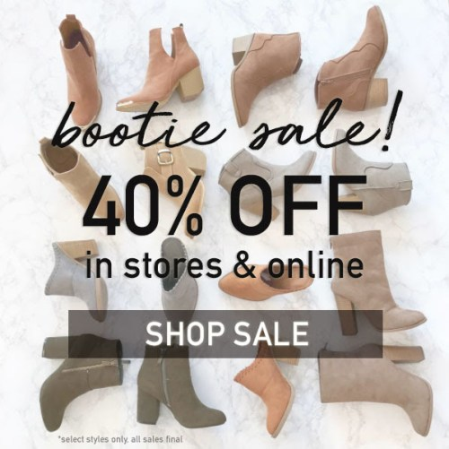 40% off booties at vestique
