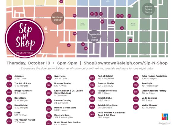 Downtown Raleigh Sip N Shop