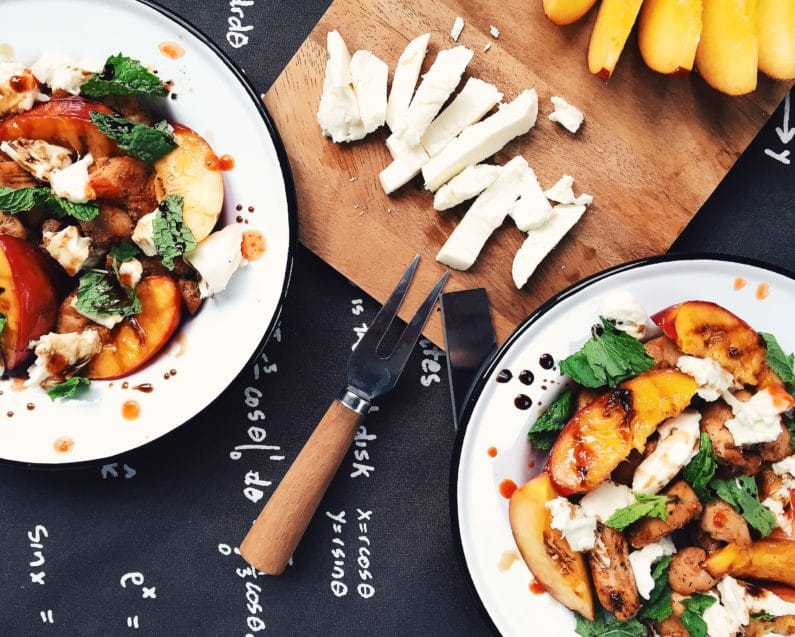 Grilled Nectarine Salad with Chicken, Mozzarella, and Mint