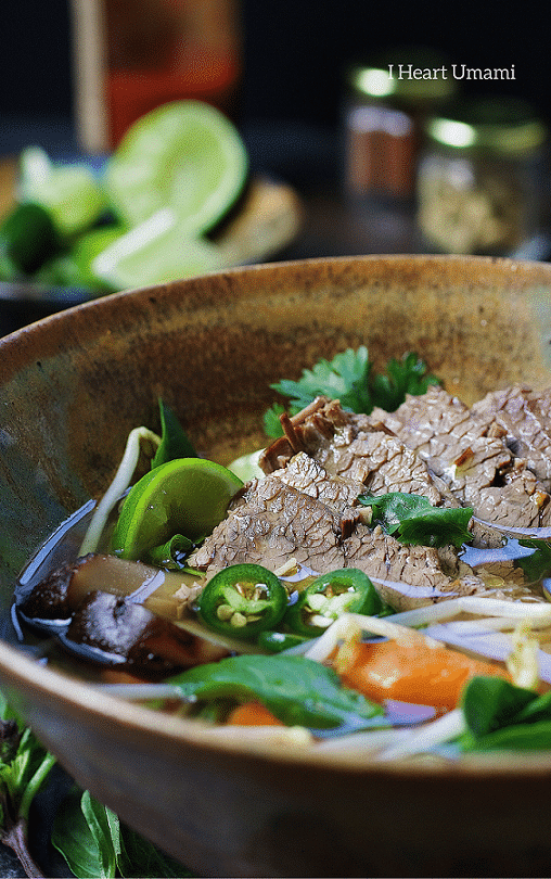 Paleo Beef Brisket Pho. Paleo beef pho instant pot recipe with tender brisket in light and aromatic broth. Perfect light supper that everyone in the family can enjoy ! IHeartUmami.com