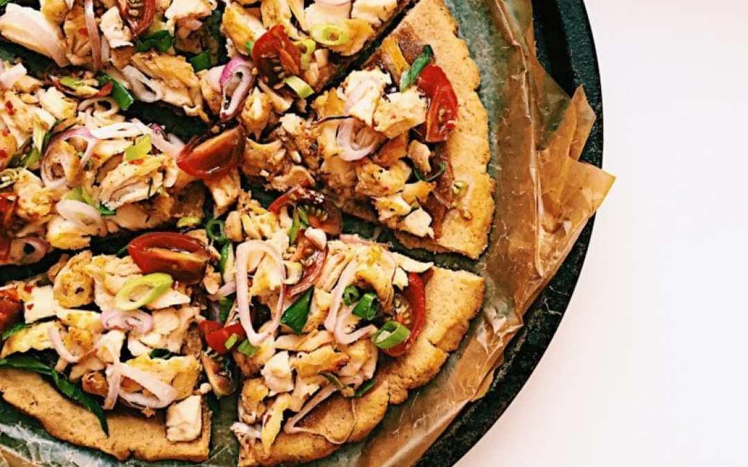 Lemongrass Chicken Pizza with Almond Butter Sauce