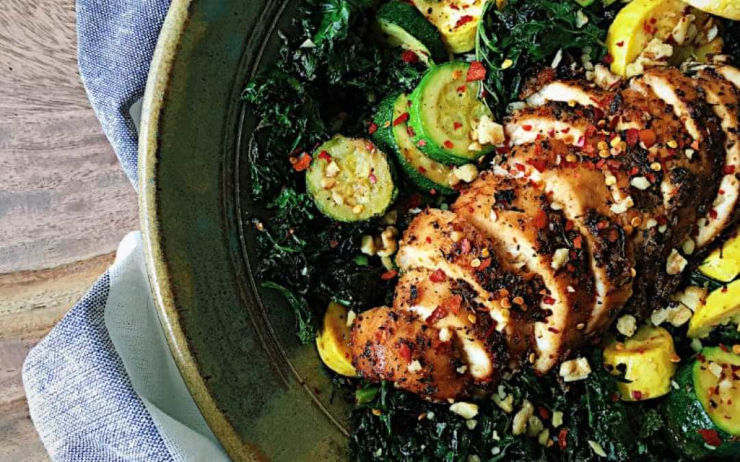 Honey Cajun Chicken with Baked Crunchy Kale Salad