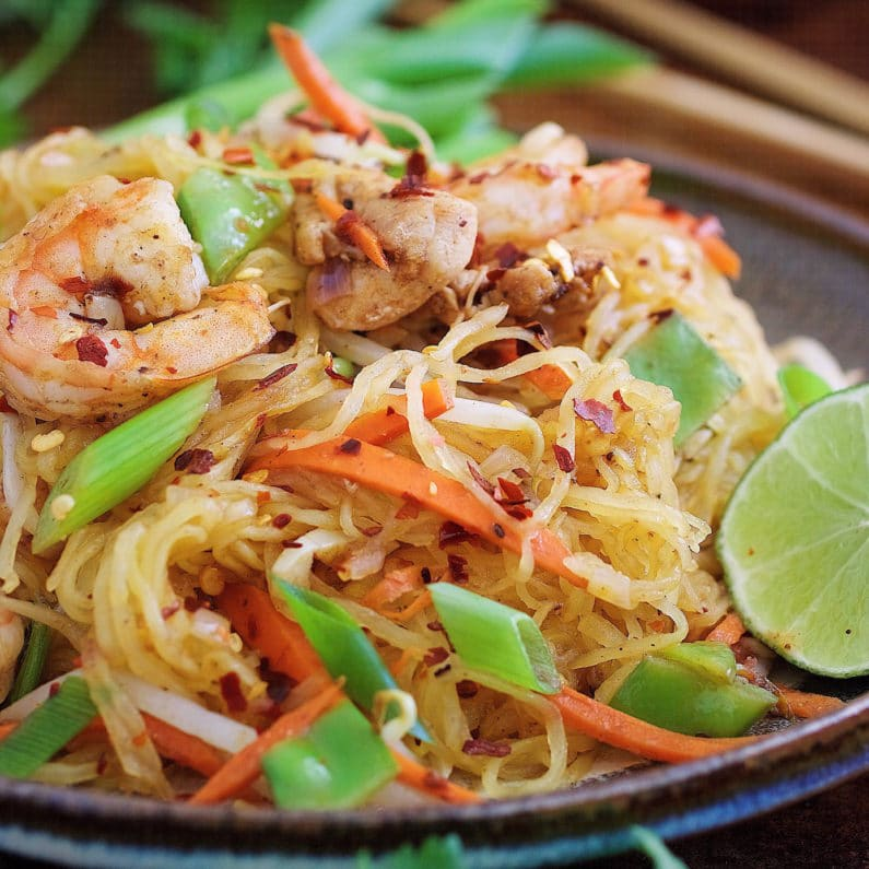 Delicious Thai-inspired Paleo Pad Thai Noodle wrapped in egg omelette