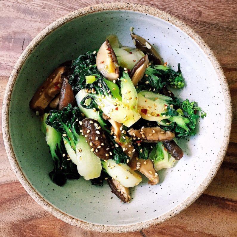 Paleo Stir Fry Shiitake Mushrooms Baby Bok Choy