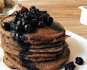 Paleo Tigernut Chocolate Pancakes with Simple Blueberry Sauce
