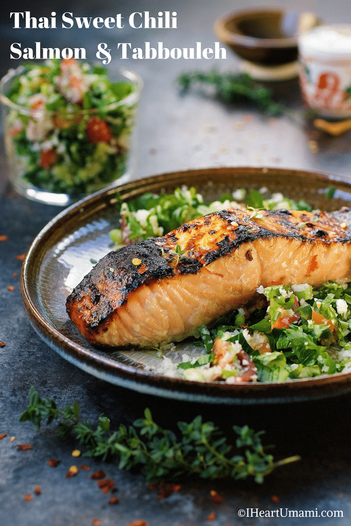 Paleo Thai sweet chili salmon. Paleo tabbouleh. Paleo tabouli. Delicious baked salmon with Thai sweet chili sauce with no added sugar. Perfect pair with grain-free Paleo tabbouleh (tabouli). IHeartUmami.com