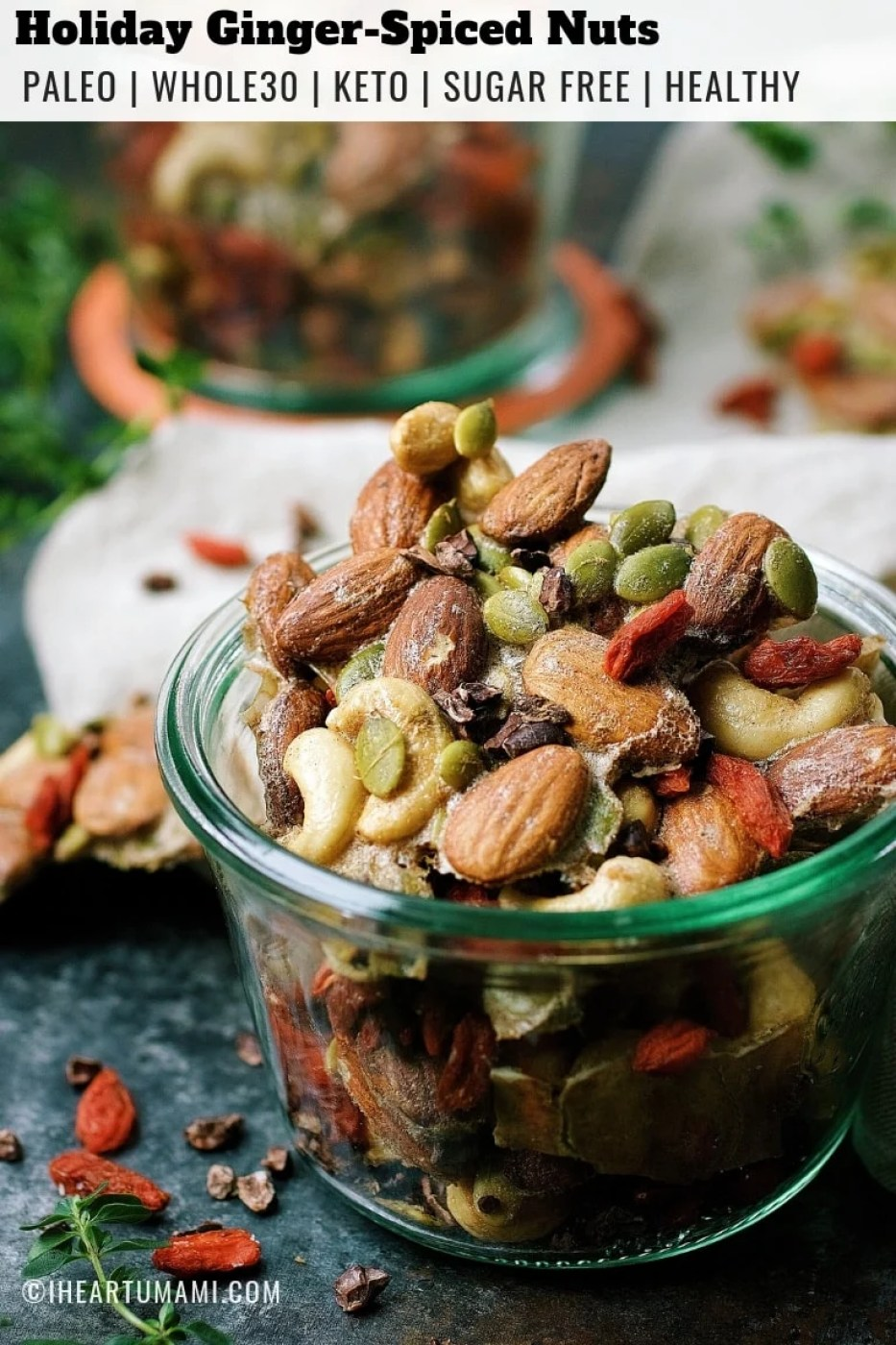 Paleo Ginger Spiced Mixed Nuts for healthy holiday homemade gifts!