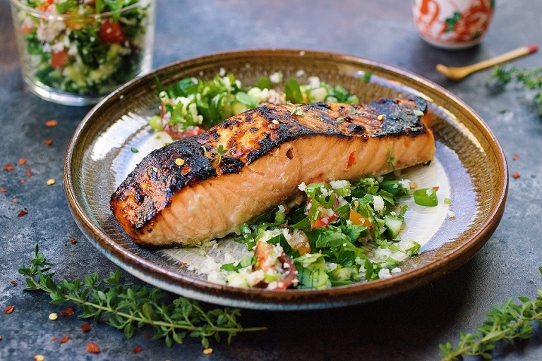 Paleo Thai Sweet Chili Salmon Tabbouleh
