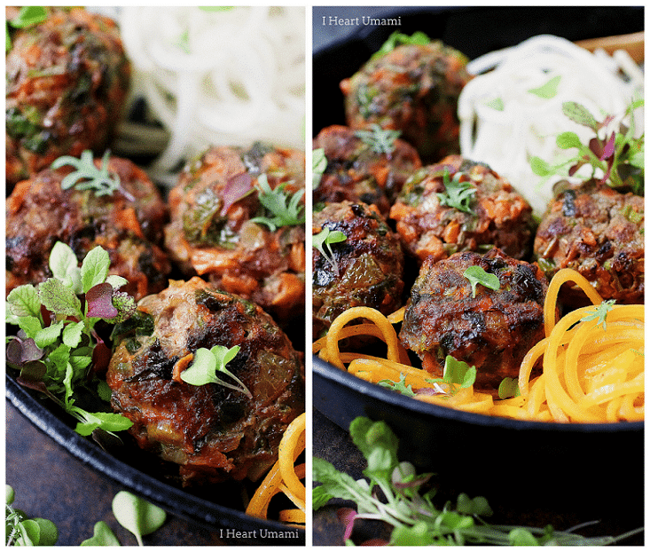 Paleo Asian Meatballs - Paleo jumbo size meatballs filled with vegetables and savory herbs. Whole30 Asian meatballs. Keto Asian meatballs. Paleo Chinese food. Paleo Asian food.
