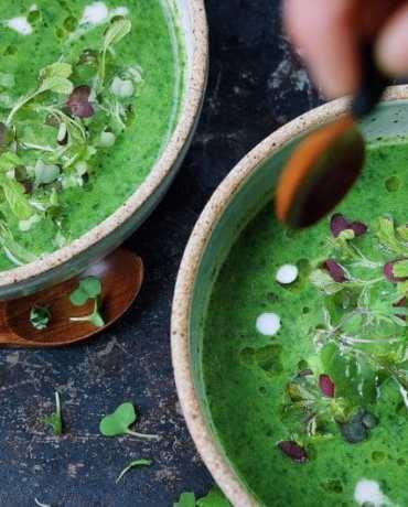 Paleo Detox Green Soup Recipe AIP Keto Friendly.