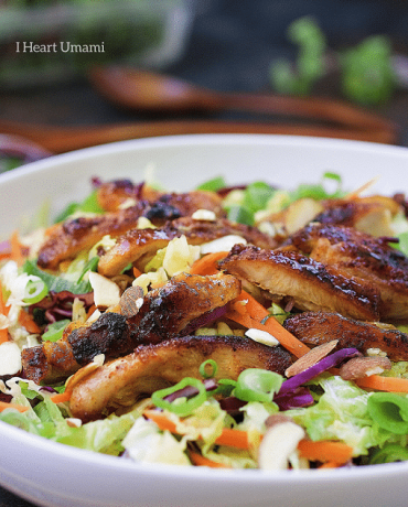 Healthy and gluten free Paleo Asian flavored grilled chicken cabbage salad recipe