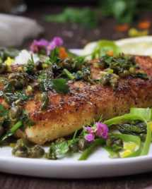 Paleo Halibut Lemon Piccata Asparagus Salad! Golden crispy Paleo fish fillet with light and refreshing lemon caper sauce. Perfect for quick easy weeknight meals and hot summer days.