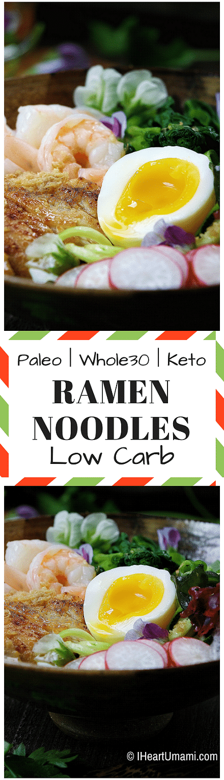 Paleo Cold Ramen Noodles. Low carb healthy zoodle ramen recipe with grilled chicken in chilled soy-free Asian ramen noodle dressing. Simple dinner that's Whole30 and Keto friendly. Perfect clean eating both adults and kids will love!