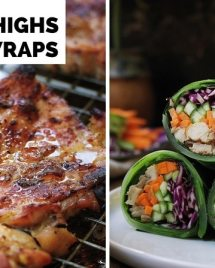 Paleo Chicken Thigh Steak Collard Green Wraps: oven baked boneless chicken thigh steak infused with roasted garlic clove flavor. Serve it alone or turn it into wraps for a delicious low carb chicken collard green wrap !