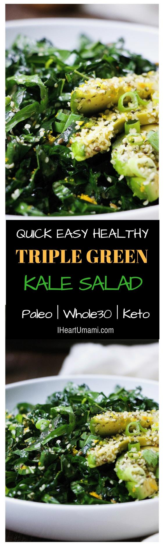 Paleo triple green kale salad ! Healthy easy Kale salad recipe with avocado, snow peas, and hemp seeds in light Asian soy-free ginger sesame dressing. Whole30, Keto, and vegan friendly ! Follow the link to save this recipe. It'll become your go-to kale salad recipe !