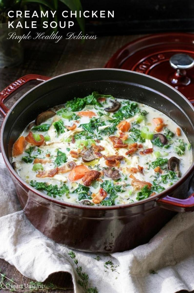 Creamy Chicken Kale Soup recipe that's hearty, healthy, and gluten dairy free.