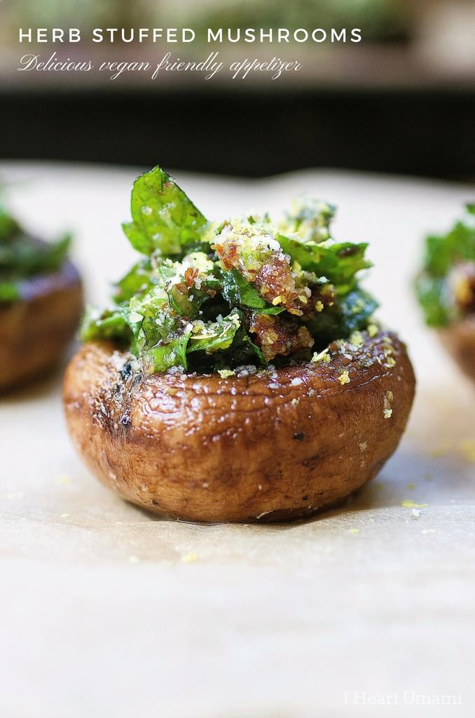 "Easy and ""cheesy"" Herb Stuffed Mushrooms that are gluten, dairy free and vegan friendly. Perfect make ahead appetizer and side dish recipe !"