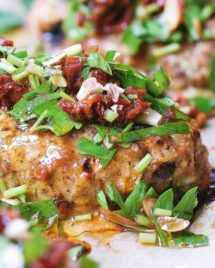 Gluten dairy and egg free low carb Mini Turkey Meatloaves recipe with savory herbs and sun-dried tomatoes in lemony sauce dressing.