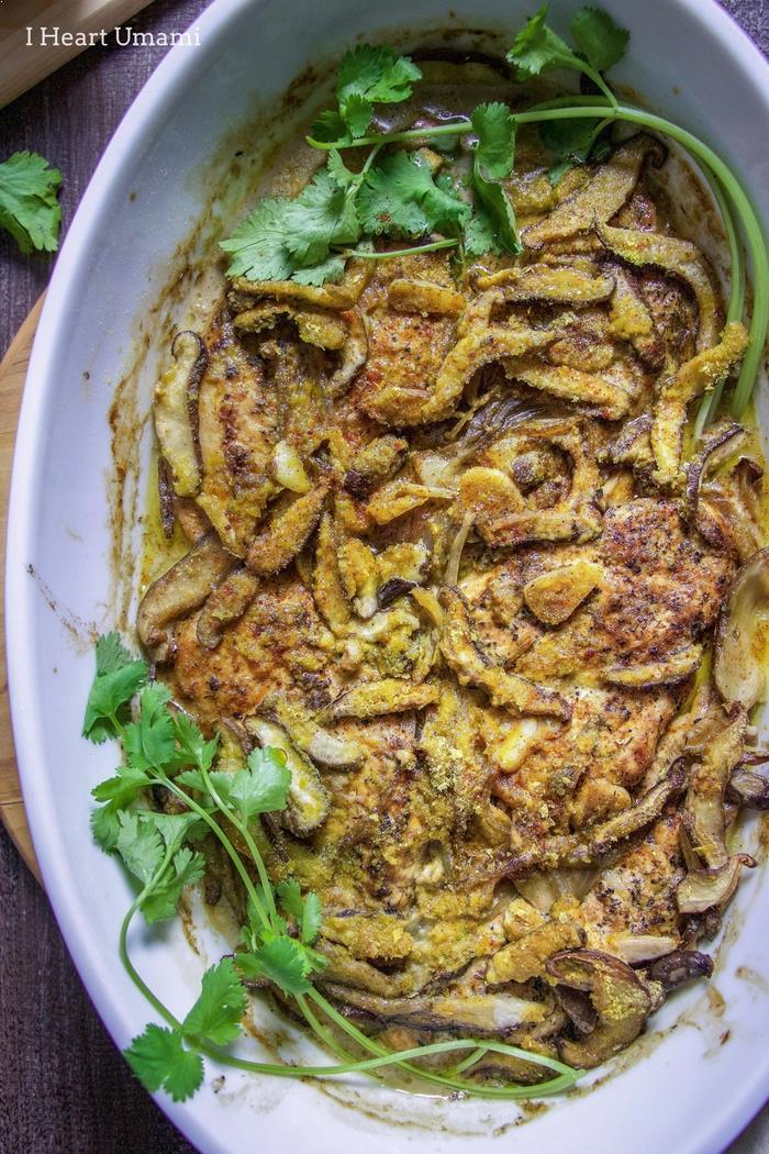 Creamy Chicken Mushroom Casserole recipe for gluten and dairy free use.