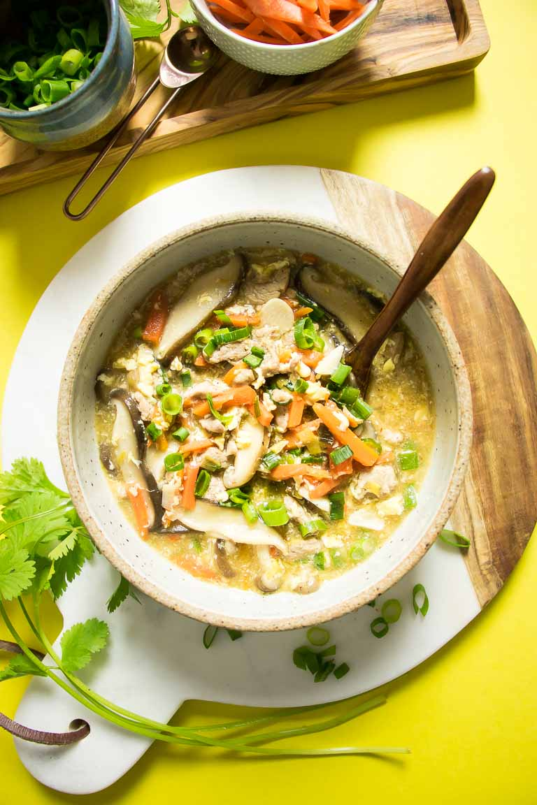 Paleo Hot and Sour Soup recipe Gluten-Free, Whole30, Keto, AIP friendly.