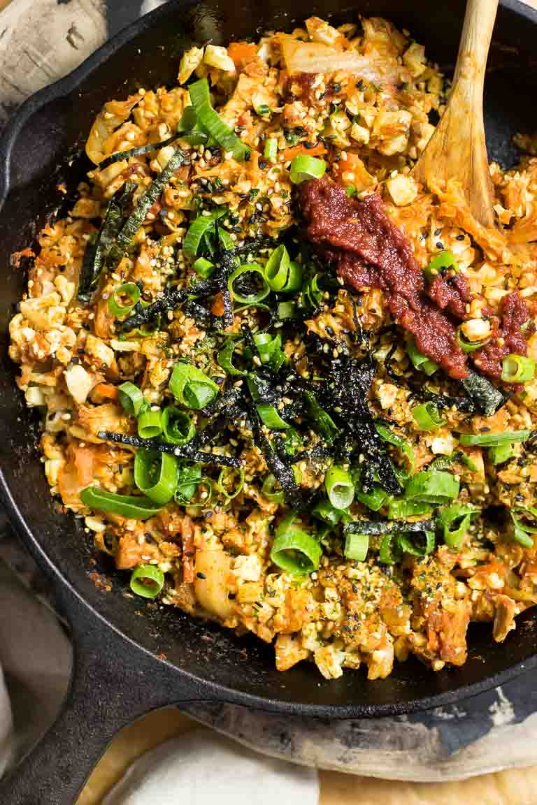 Kimchi Cauliflower Fried Rice Paleo recipe with Paleo gochujang substitute recipe