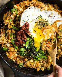 Kimchi Cauliflower Fried Rice Paleo recipe with Paleo gochujang substitute recipe.
