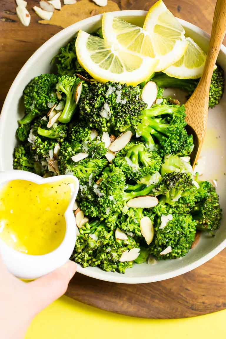 Lemon Garlic Paleo Broccoli Recipe with Dairy-Free Lemon Garlic Butter Sauce with microwave or quick blanch instructions