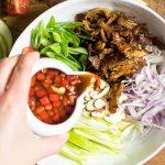Whole30 Paleo Crispy Thai Chicken Salad Recipe with Apples in Thai salad dressing.