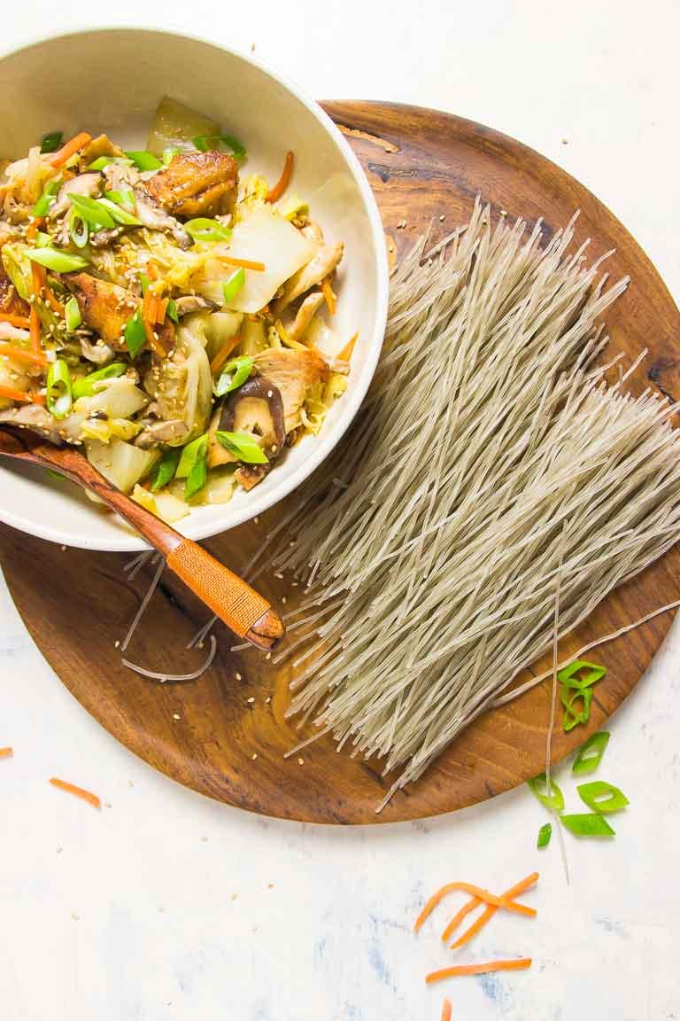 Korean Sweet Potato Noodles Paleo Japchae Stir-Fry Ingredients