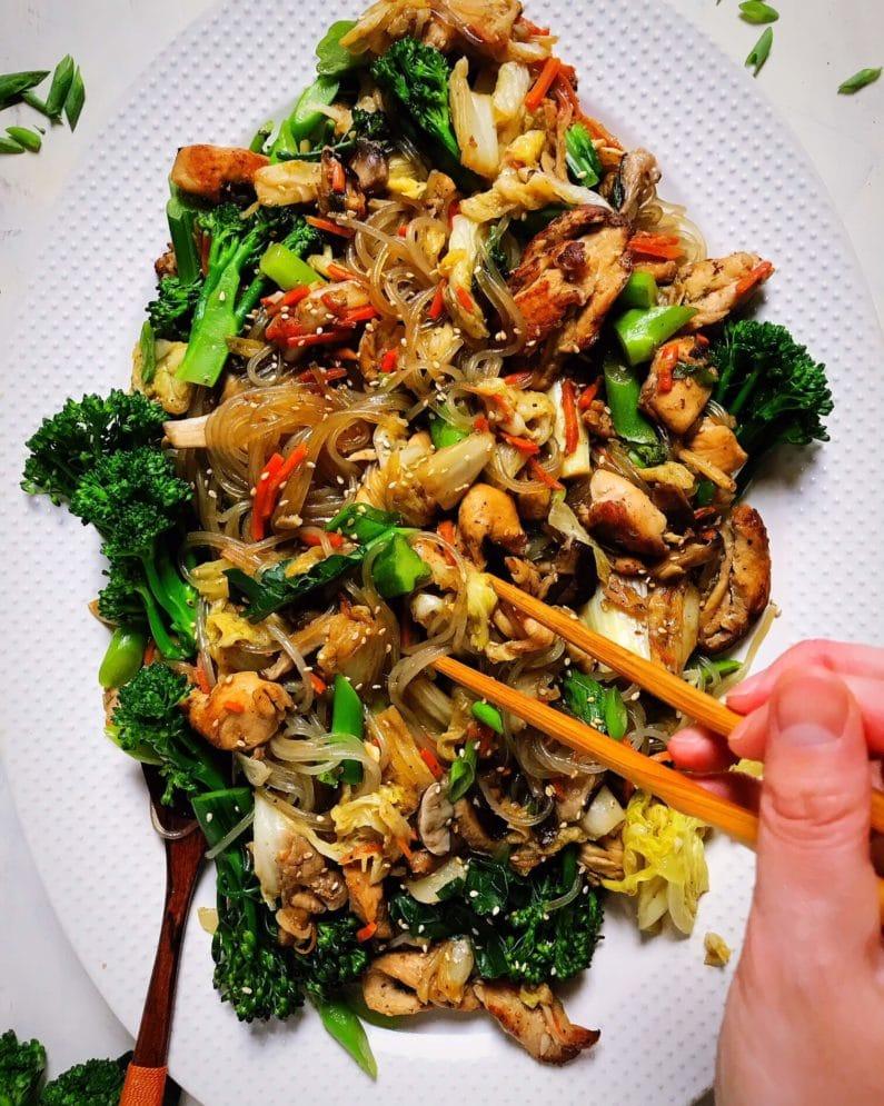 Paleo Chicken Stir-Fry with Korean Sweet Potato Glass Noodles Recipe,