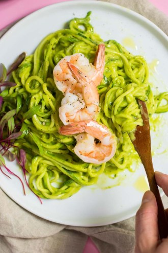 Zucchini Pasta Shrimp with Avocado Pesto Sauce Recipe.