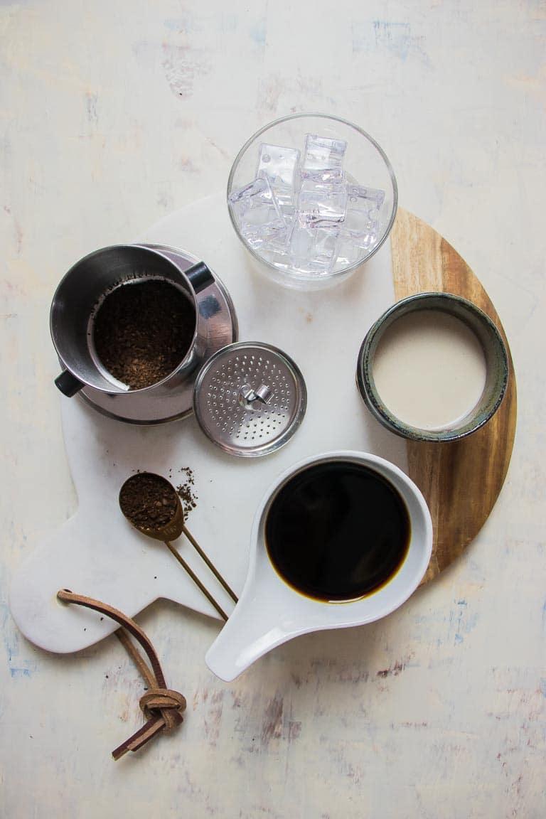 Paleo Coconut Milk Vietnamese Iced Coffee with dairy-free condensed milk Recipe ingredients.