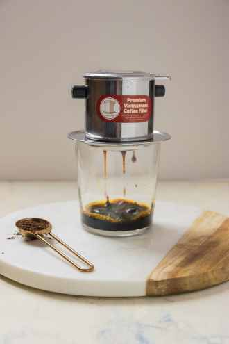 Paleo Coconut Milk Vietnamese Iced Coffee with Vietnamese Coffee Maker Phin