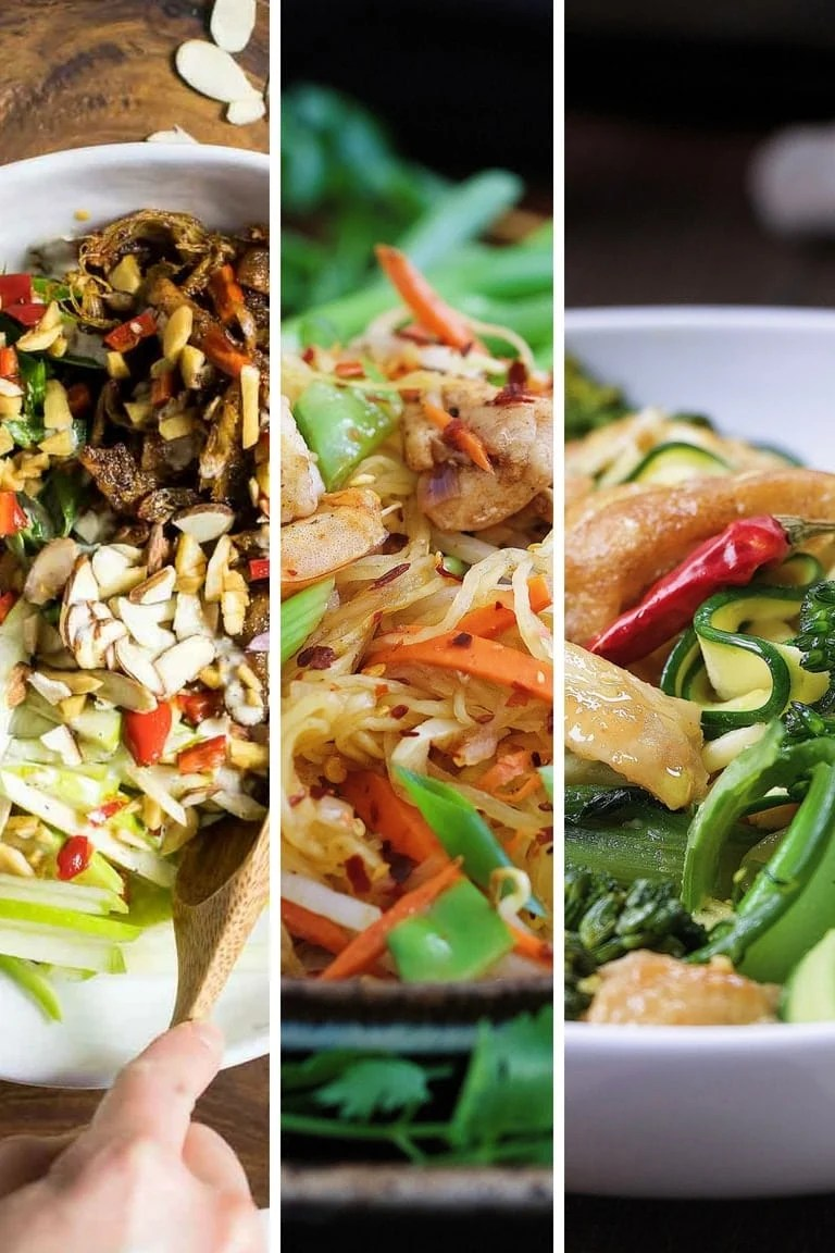 A collection of the best Paleo Whole30 Thai Recipes from salads, pad thai squash noodles, meatballs, to curry and stir-fry dishes.