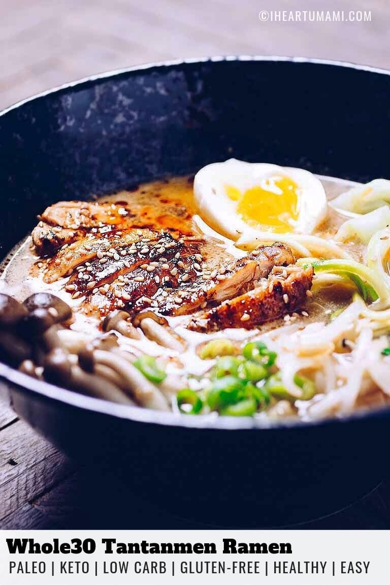 Whole30 Tantanmen Ramen recipe with creamy rich bone broth and juicy caramelized chicken.