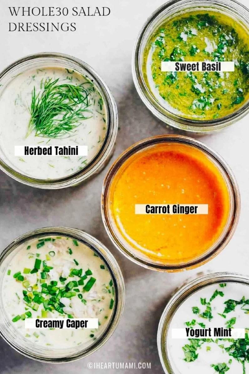5 Best Whole30 Salad Dressing Recipes for Paleo, Whole30, Low carb, and healthy salad dressing recipes from I Heart Umami.