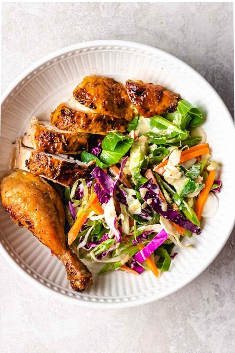 Air fryer chicken recipe with Asian Coleslaw