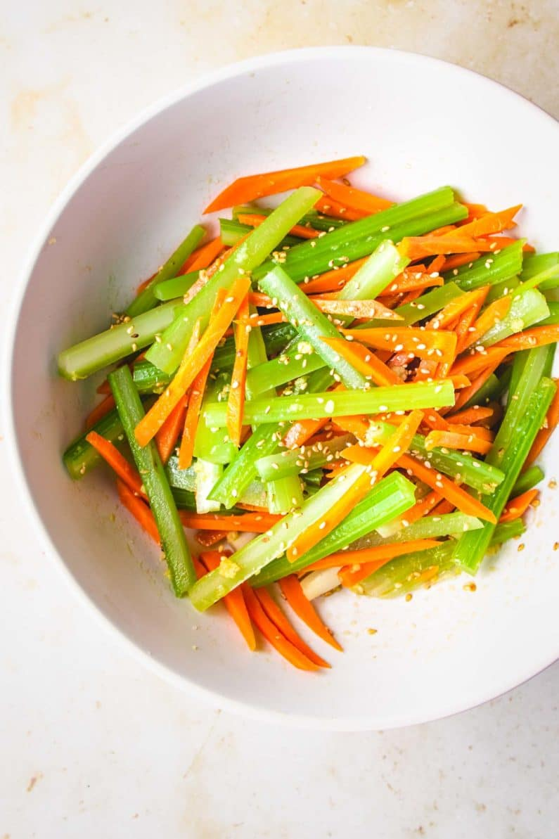 Asian Carrot salad with celery slaw
