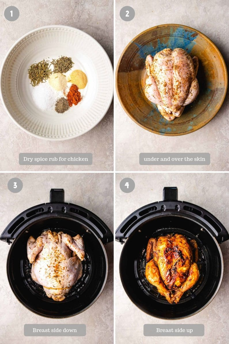 how to roast whole chicken in air fryer