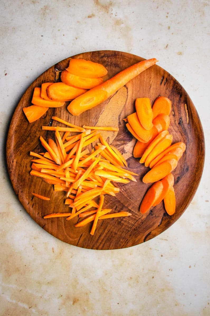 Thinly sliced carrots for slaw