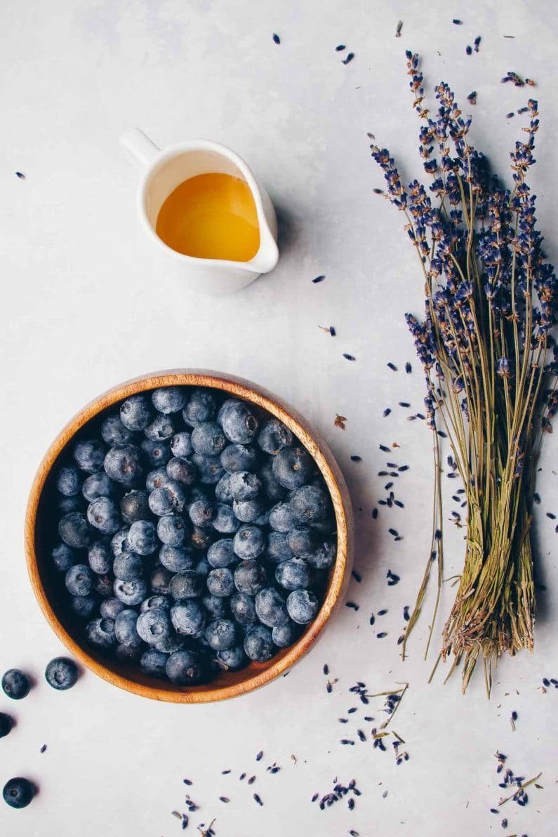 Blueberries, Lavender, and Honey for syrup recipe