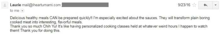 User testimonial for I Heart Umami
