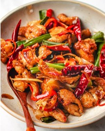 Mongolian Chicken recipe with crispy edges and Paleo Whole30 Mongolian sauce from I Heart Umami.