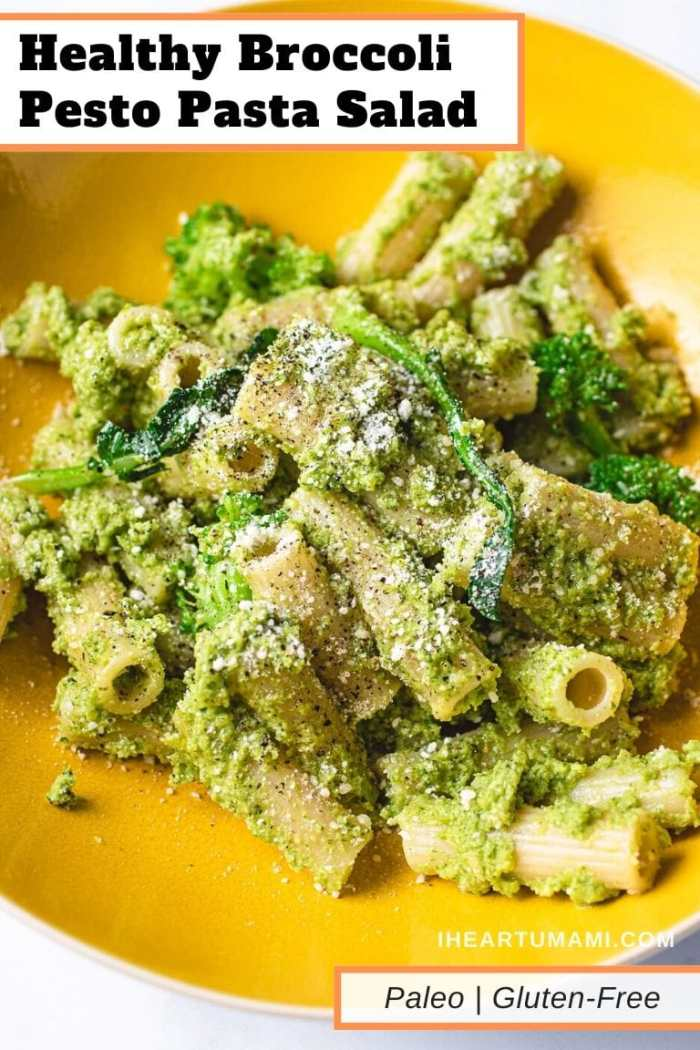 Pinterest pin image for broccoli pesto pasta salad recipe