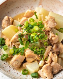 Daikon Radish Recipe with chicken, simmered in Yuzu Sauce from I Heart Umami